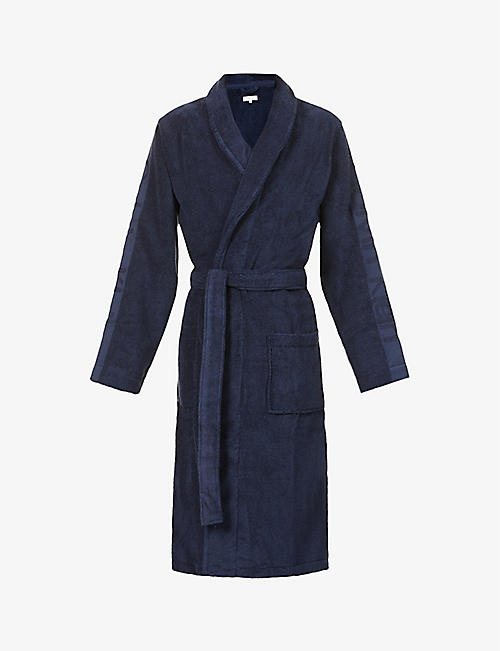 CALVIN KLEIN: Logo-embossed cotton-towelling robe