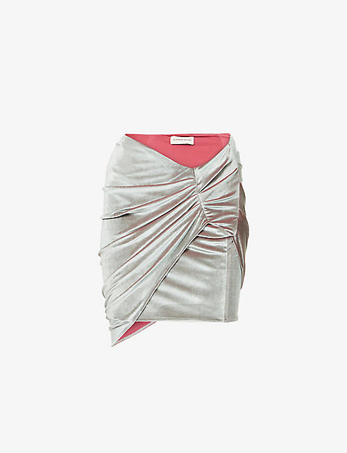 ALEXANDRE VAUTHIER: Ruched velvet mini skirt