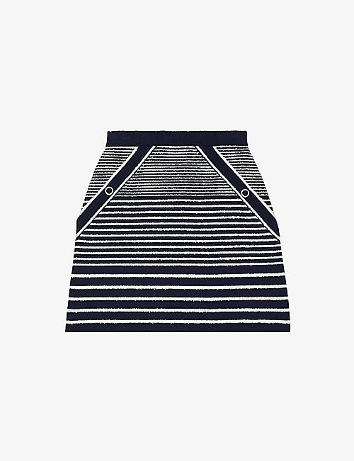 MAJE: Striped cotton-blend mini skirt
