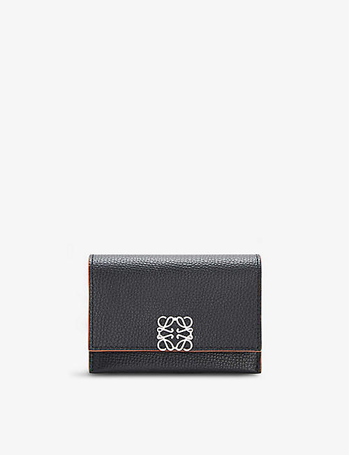 LOEWE: Anagram grained-leather accordion cardholder