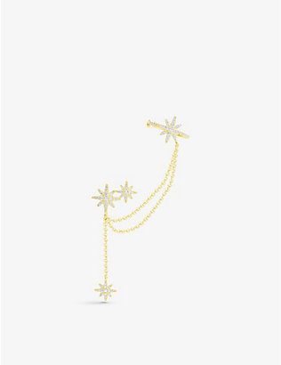 APM MONACO: Star-pendant yellow gold-toned sterling silver drop earrings