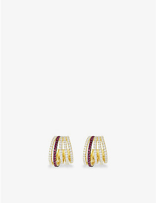 APM MONACO: La Voyageuse yellow gold-toned sterling silver, zirconia and nano hoop earrings