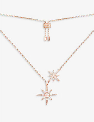 APM MONACO: Double Météorites pink gold-toned sterling silver and zirconia necklace