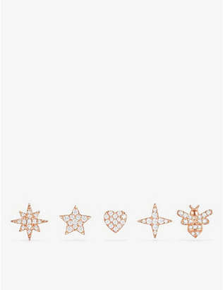 APM MONACO: Wonderland pink gold-toned sterling silver stud earrings