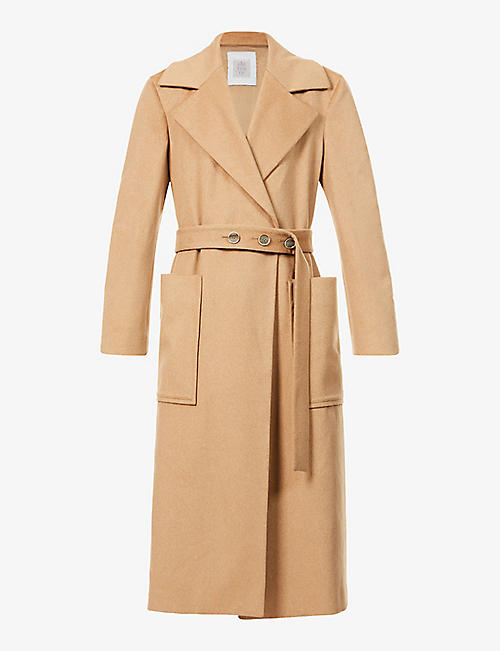 ELEVENTY: Padded-shoulder notch-lapel wool coat