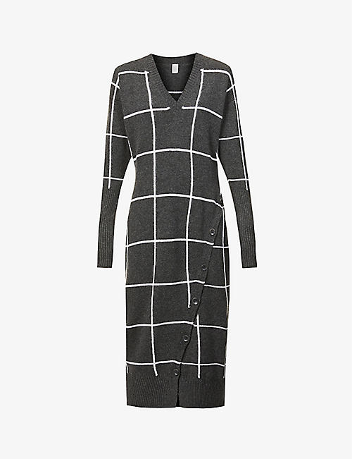 ELEVENTY: Checked cashmere maxi dress