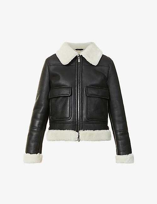 ELEVENTY: Shearling-lined leather jacket