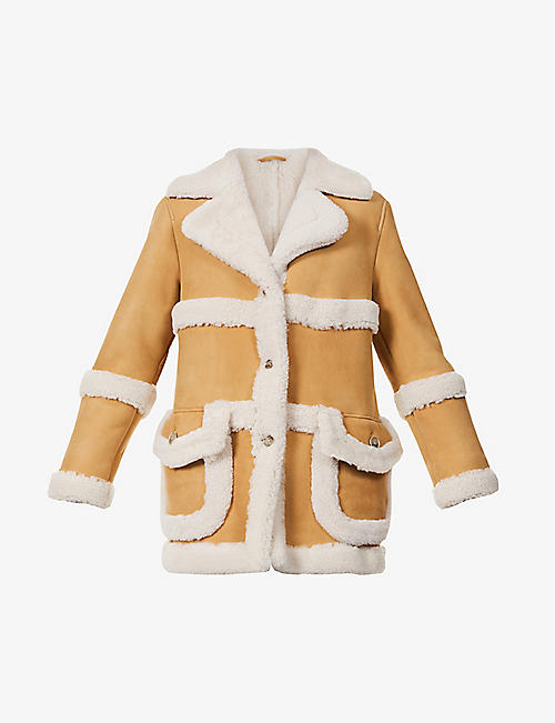 ELEVENTY: Wide-collar shearling coat