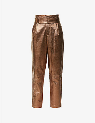 ALICE & OLIVIA: Gabrielle tapered high-rise leather trousers