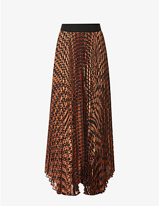 ALICE & OLIVIA: Katz graphic-print pleated jacquard midi skirt