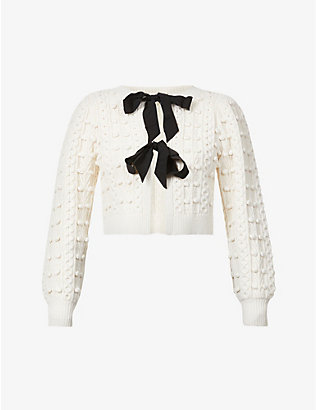 ALICE & OLIVIA: Kitty cropped knitted cardigan