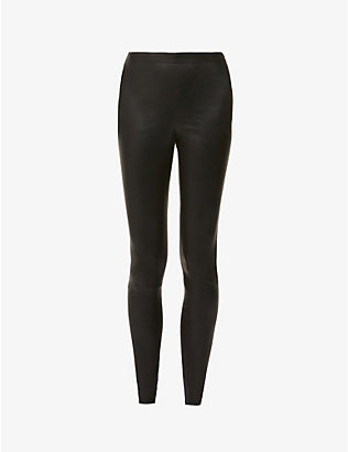 ALICE & OLIVIA: Maddox skinny mid-rise leather trousers