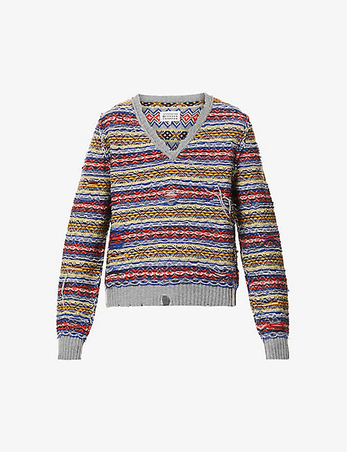 MAISON MARGIELA: Woven-pattern wool-blend jumper