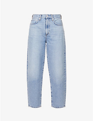 AGOLDE: Balloon tapered mid-rise organic cotton denim jeans