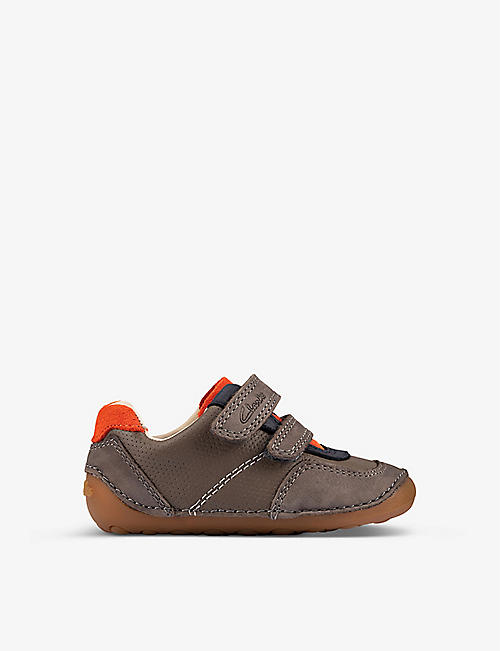 CLARKS: Tiny Dusk leather trainers 8-9 years