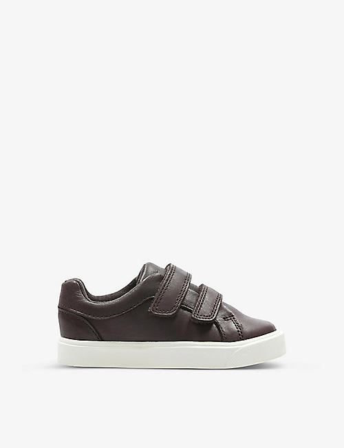 CLARKS: Oasis low-top leather trainers 1-4 years