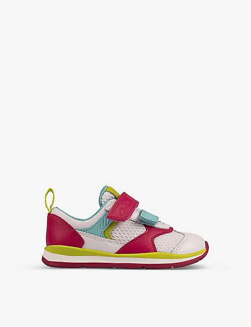 CLARKS: Ferris Run leather and mesh trainers 0-12 years