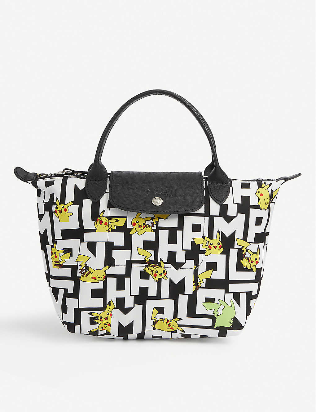 LONGCHAMP: Longchamp x Pokémon Le Pliage Pikachu-print nylon top-handle bag