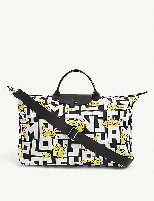 LONGCHAMP: Longchamp x Pokémon Le Pliage Pikachu-print nylon travel bag