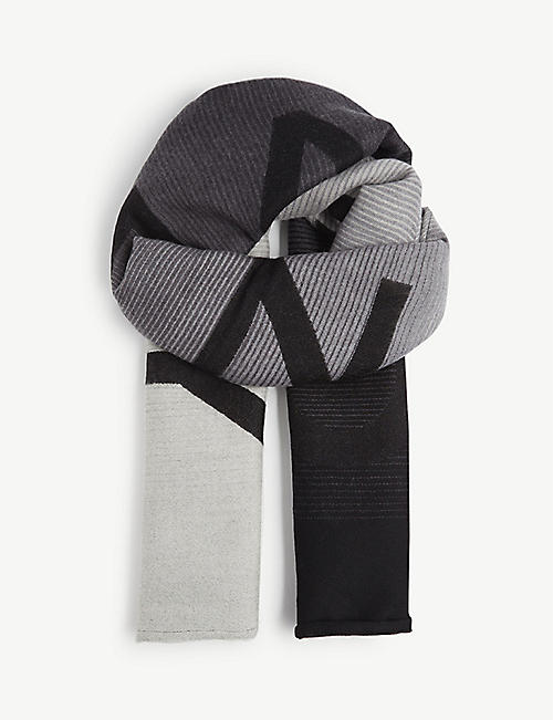 GIVENCHY: Degradé logo-print wool and silk-blend scarf