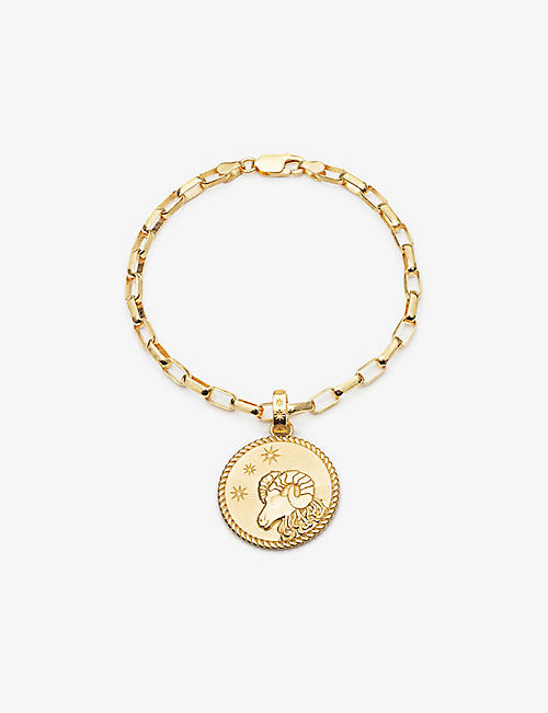 RACHEL JACKSON: Zodiac Coin Aries 22ct gold-plated sterling silver box chain bracelet