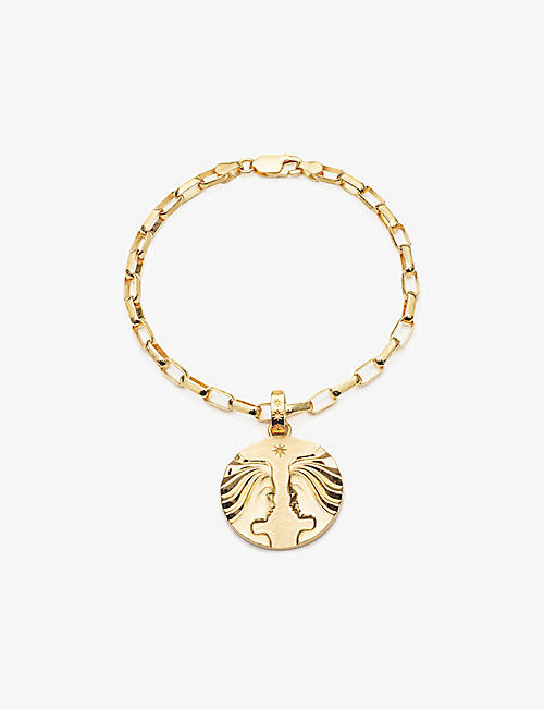 RACHEL JACKSON: Zodiac Art Coin Gemini statement 22ct gold-plated sterling silver bracelet