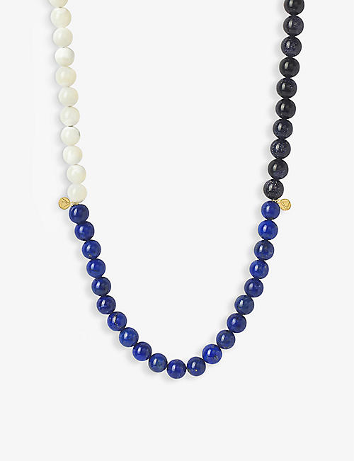 THE ALKEMISTRY: Cinta 18ct yellow-gold and tri-block beaded necklace