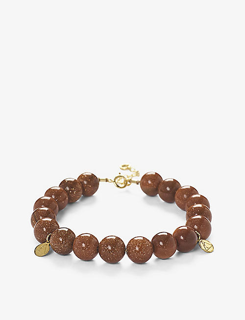 THE ALKEMISTRY: Cinta 18ct yellow gold and goldstone beaded bracelet