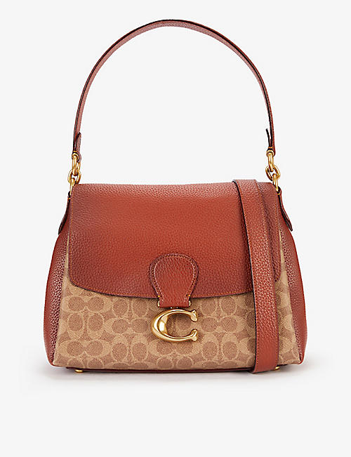 COACH: May canvas and pebbled leather shoulder bag