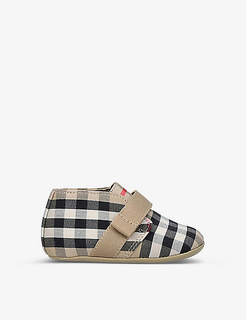 BURBERRY: Charlton vintage check-print cotton booties 0-6 months