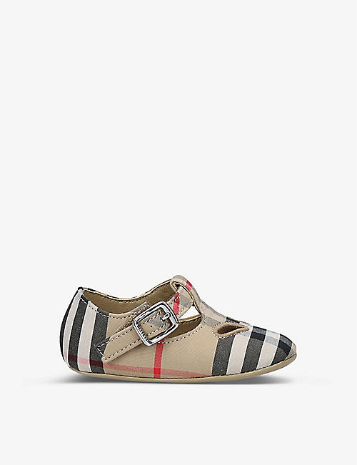 BURBERRY: Kipling Vintage check-print T-bar cotton shoes 0-6 months
