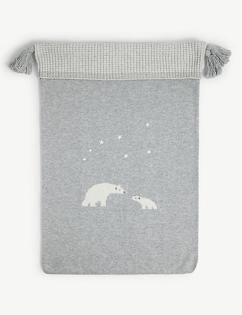 THE LITTLE WHITE COMPANY: Lumi polar bear woven present sack 70cm