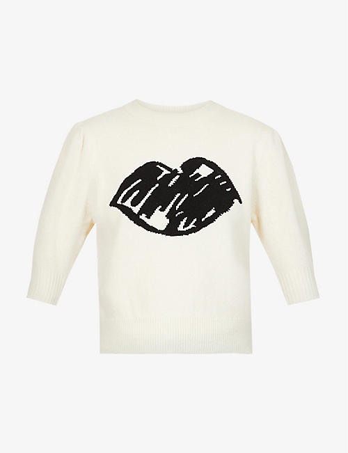 MARKUS LUPFER: Laura sketch lip-intarsia wool jumper