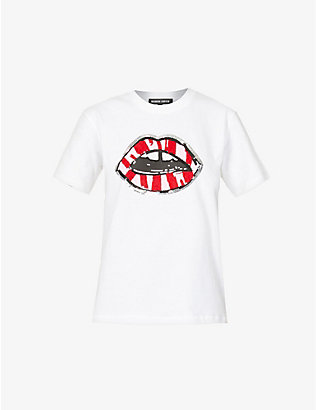 MARKUS LUPFER: Alex crystal and sequin-embellished cotton-jersey T-shirt