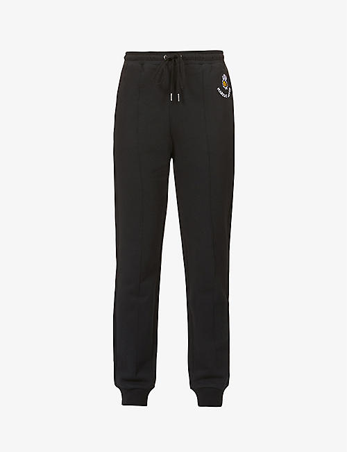 MARKUS LUPFER: Aliza bumble bee-embroidered high-rise cotton-jersey jogging bottoms