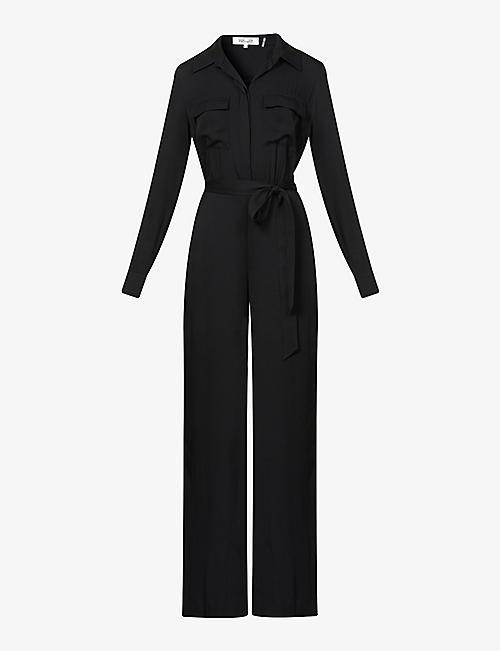 DIANE VON FURSTENBERG: Sterling belted stretch-silk jumpsuit