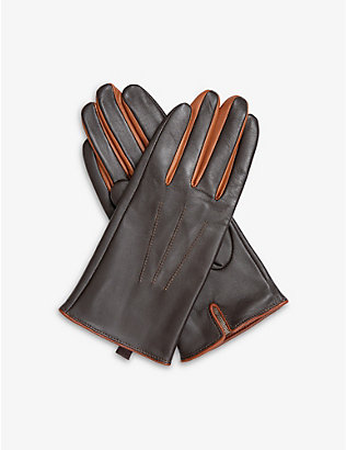 DENTS: Contrast-detail triple-stitch leather gloves