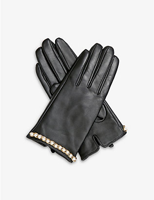 DENTS: Faux-pearl embellished leather gloves