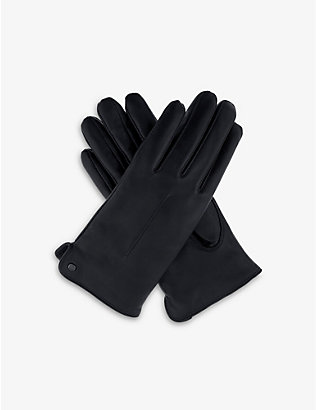 DENTS: Stud single point-stitched leather gloves