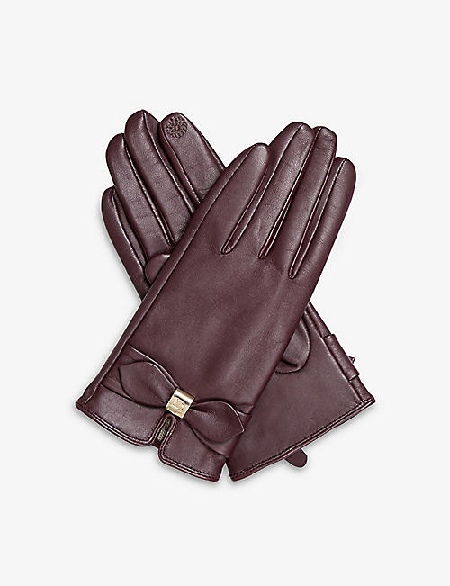 DENTS: Touchscreen bow-detail leather gloves