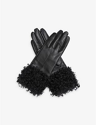 DENTS: Touchscreen faux-shearling cuff leather gloves