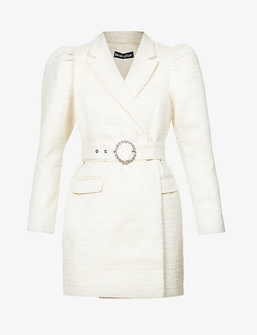 LAVISH ALICE: Puffed-sleeve stretch-crepe blazer mini dress