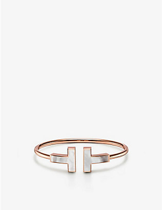 TIFFANY & CO: Tiffany T 18ct rose-gold and mother-of-pearl bracelet