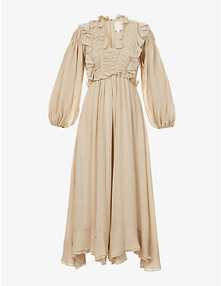 SSONE: Spirit frilled crepe maxi dress