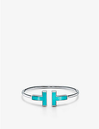 TIFFANY & CO: T Wire 18ct white-gold and turquoise bracelet