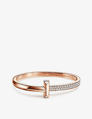TIFFANY & CO: T1 18ct rose gold and diamond bracelet
