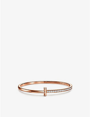 TIFFANY & CO: T1 Narrow 18ct rose gold and diamond bracelet