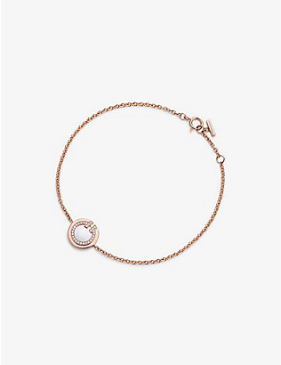 TIFFANY & CO: Tiffany T 18ct rose-gold, 0.04ct diamond and mother-of-pearl circle bracelet