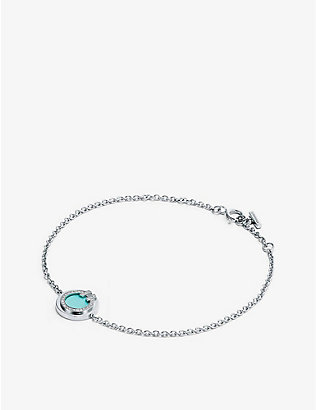 TIFFANY & CO: Tiffany T Circle diamond, turquoise and 18ct white-gold bracelet