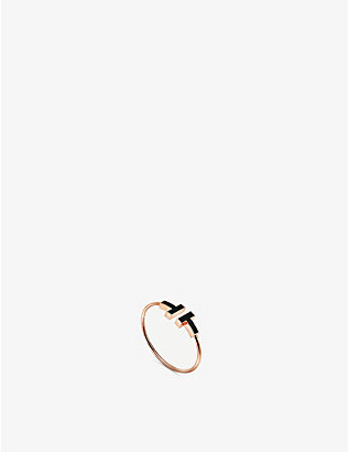 TIFFANY & CO: Tiffany T Wire 18ct rose-gold and onyx ring